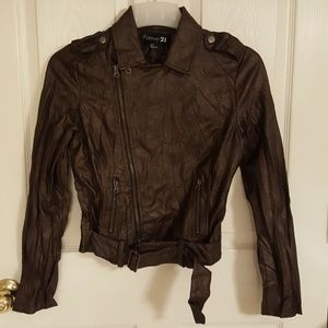 Forever 21 faux leather jacket brown grunge